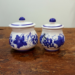 Ceramic sugar bowl in Romagnola decoration