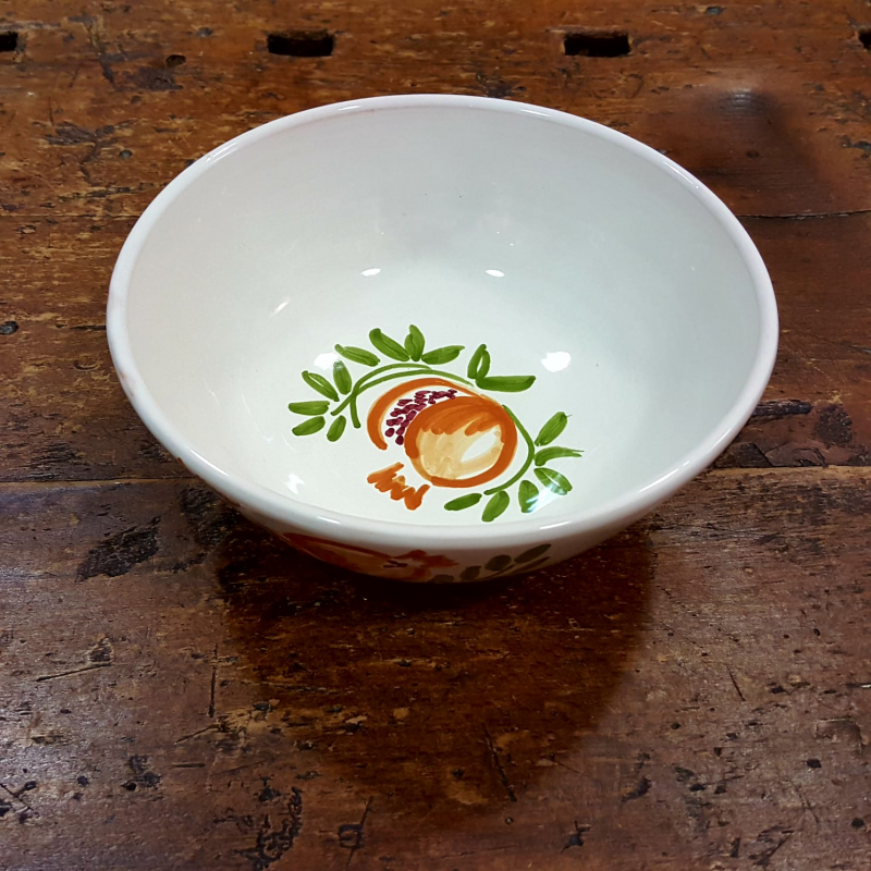 Ceramic salad bowl pomegranate decoration handmade by artgiani.