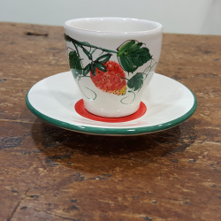 Hand painted ceramic coffee cups with strawberry decorations