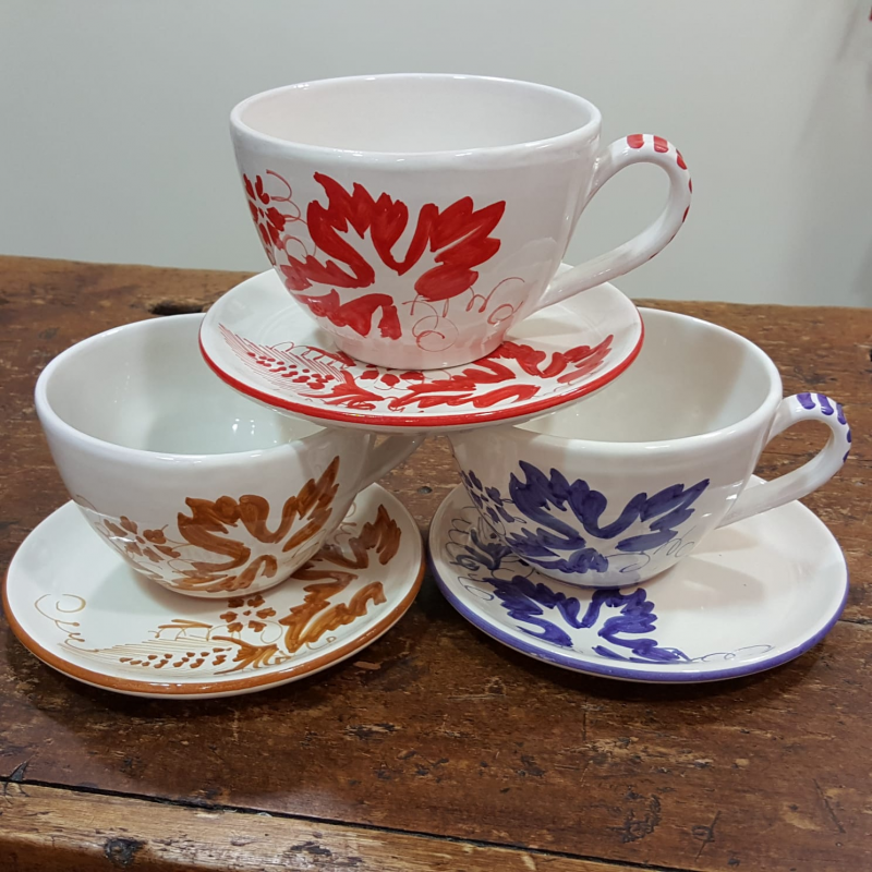 Ceramic cups with handle and saucer decorated romagnole