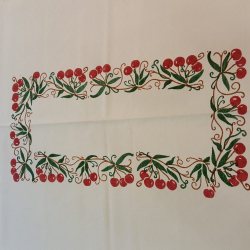 linen tablecloth with cherries