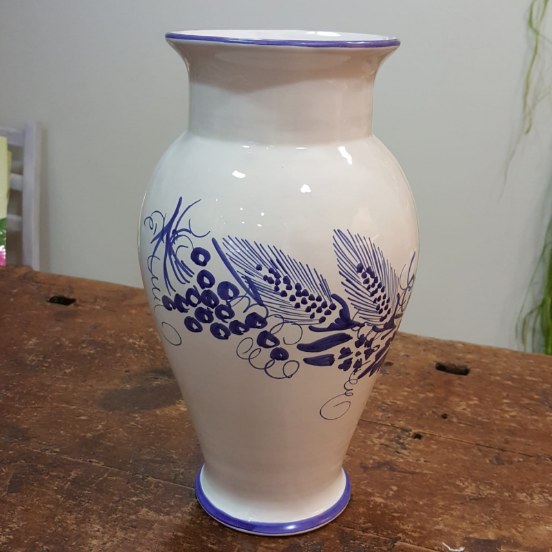 Ceramic flower vase decorated with Romagna spike and grapes