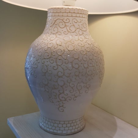 Ceramic lamp with embroidery design