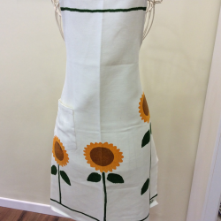 Apron in linen Decoration Sunflowers
