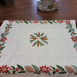 Christmas Tablecloth prints of pine cones and holly