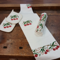 Coordinated Apron Dishcloth Kitchen pots in linen blend