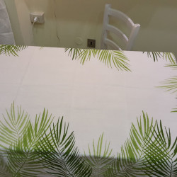Tablecloth in natural linen with palm decoration