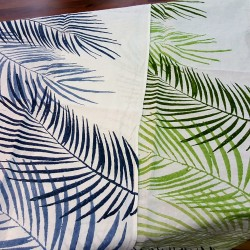 Hand-printed table runner palm design