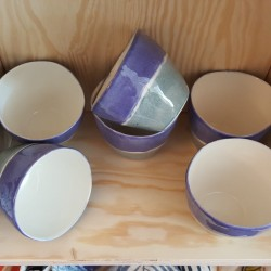Double blue band porcelain tea cups