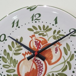 Ceramic clock hand decorated pomegranate