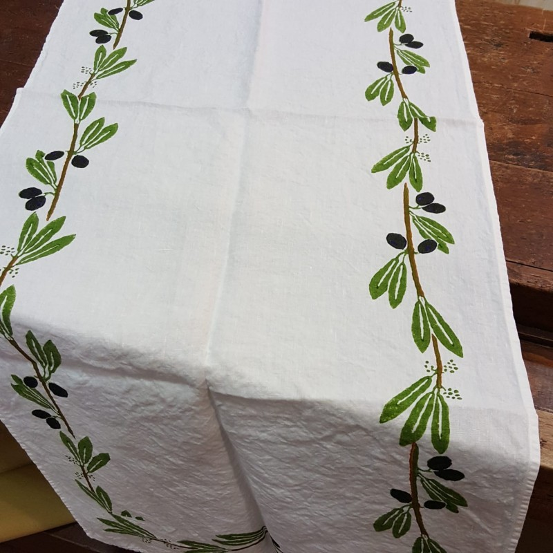 Table Runner pure linen Olive print Bertozzi