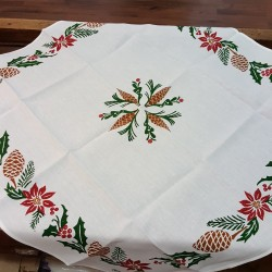 Christmas linen tablecloth square hand printed