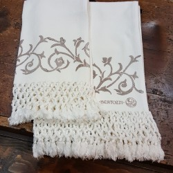 Pair Of Bertozzi barbed fabric cotton towels with fringes