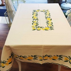 Tablecloth hand-printed...