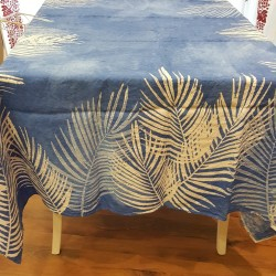 Crumpled linen tablecloth Palma blue collection