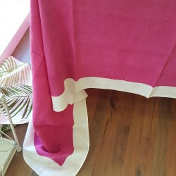 Tablecloth Painted Full Color Fuxia 160x270 in crumpled natural linen
