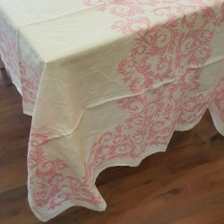 Tablecloth Acanto collection in crumpled linen color Pink