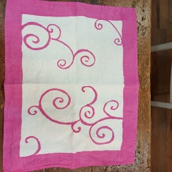 Placemat 40x50 Bordo and Ricci collection in crumpled natural linen
