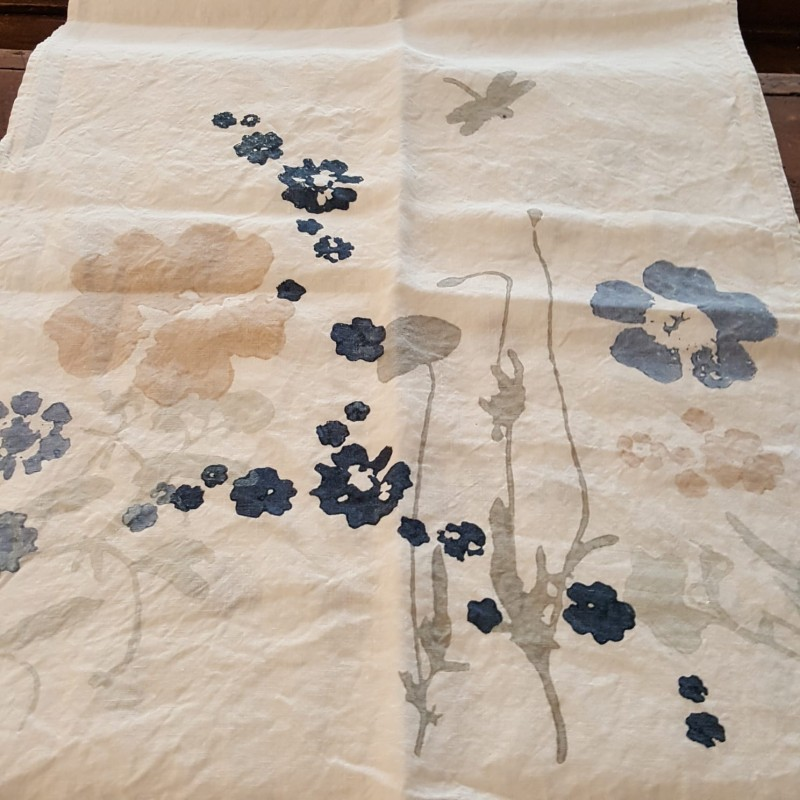 Table runner 100% Crumpled linen L'Heure Bleue collection