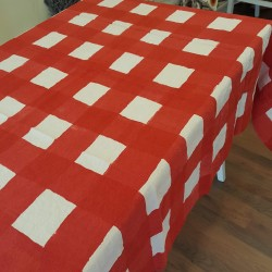 Red Linen Tablecloth...