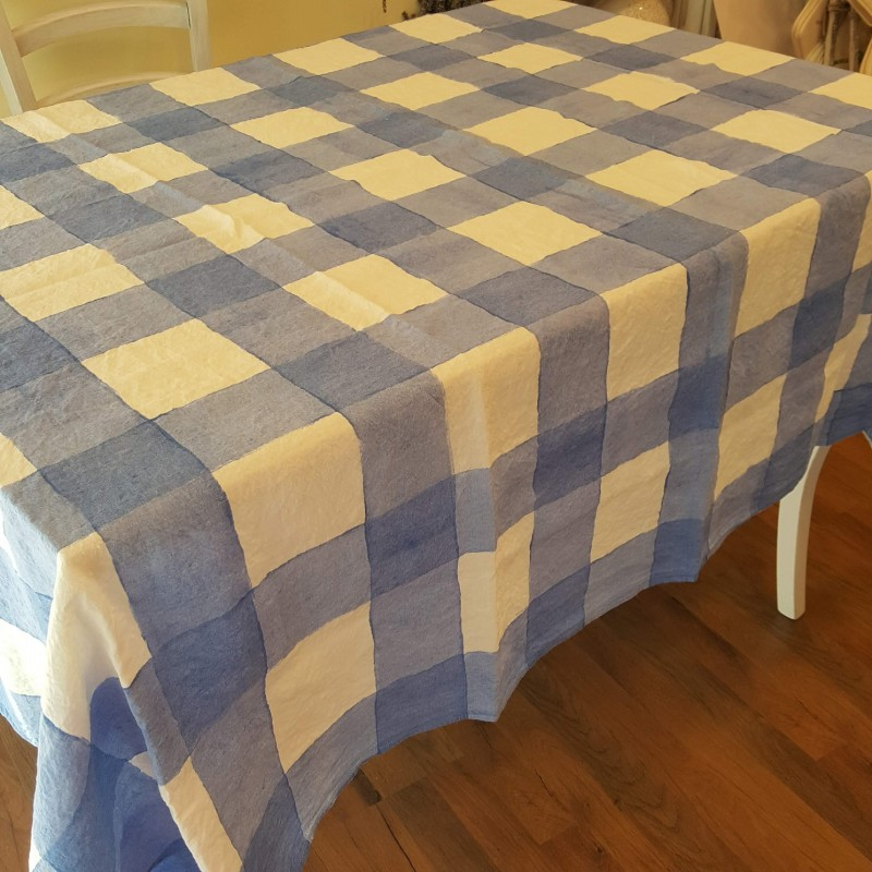 Blue Tablecloth Lino Square Collection