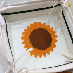 Breadbox hand printed sunflower decorated