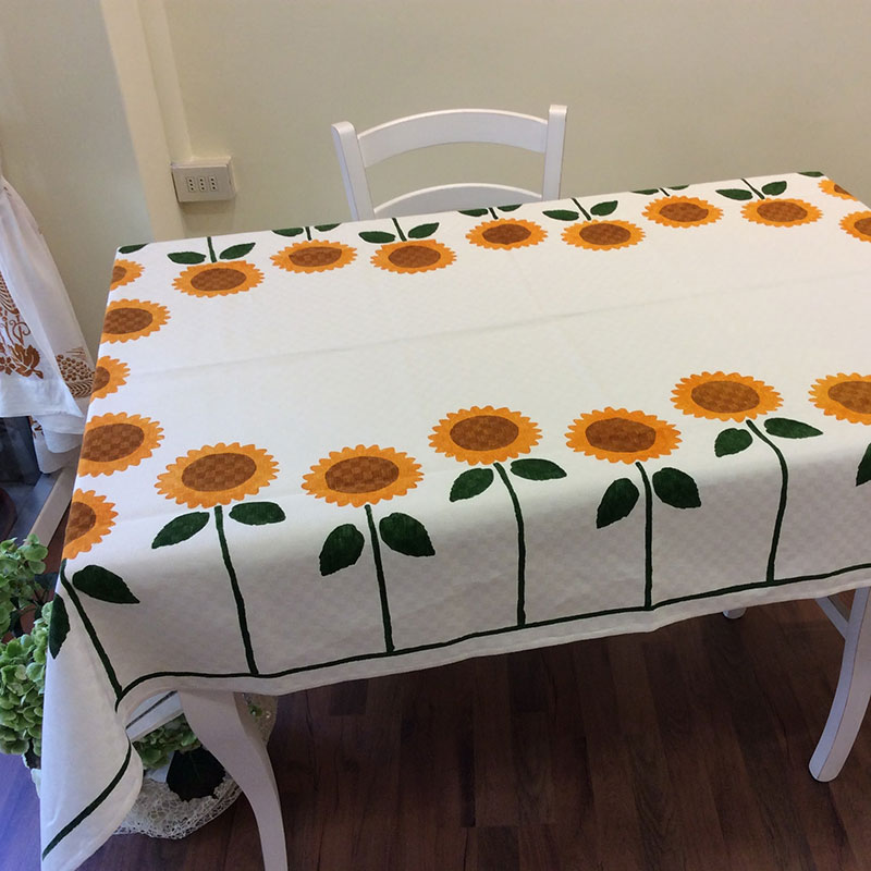 Italian Luxury Tablecloths Sunflowers Print ...