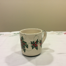 Cup Mug ceramic Christmas holly decoration