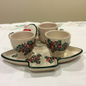 tete a tete Christmas holly decoration Italian ceramics