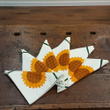 Napkins hand-printing sunflowers decorated