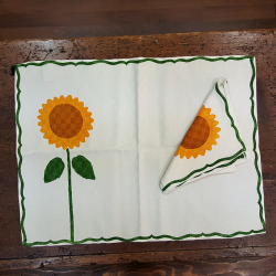 Mixed linen tablecloth with sunflowers print towel pomegranates