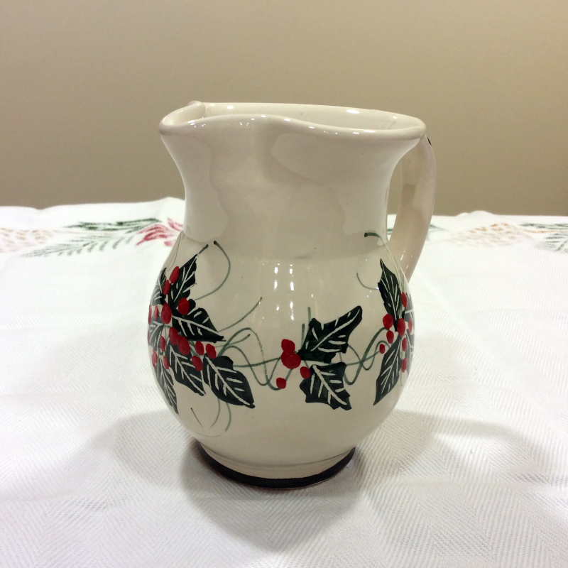 Christmas wine jugs holly decoration