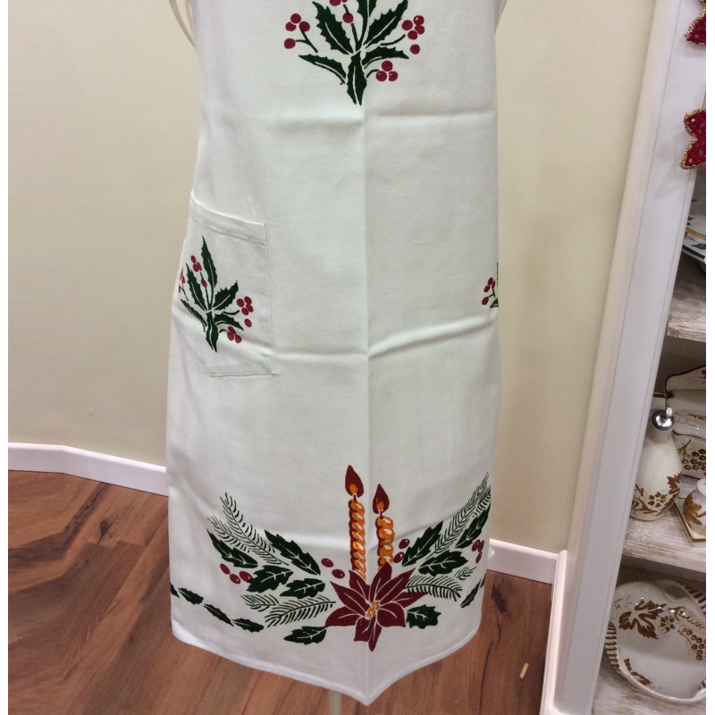 Linen Apron for kitchen hand-printed