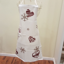 Linen apron bows and hearts