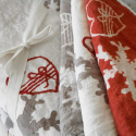 linen tablecloth bows and hearts