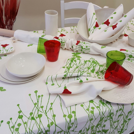 Linen Tablecloth with tulips print