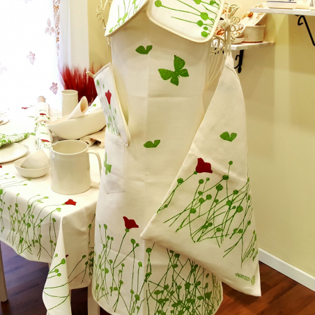 Apron linen for kitchen tulips print