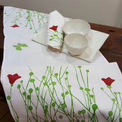 Table Runner linen tulips print