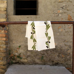 Italian Table Runner pure linen Olive print