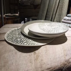 Set tris porcelain plates collection chevron