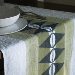 Italian linen Table runner geo collection
