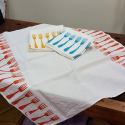 Linen tablecloth forks print
