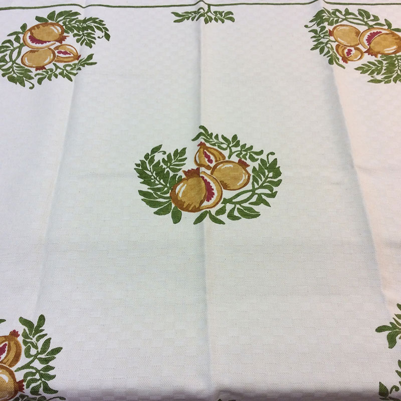 linen tablecloth hand-printed pomegranates