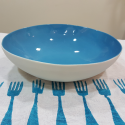 Porcelain bowl with azure background