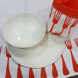 Porcelain Plates forks collection Bertozzi