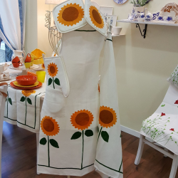 Set for kitchen cotton linen sunflowers print