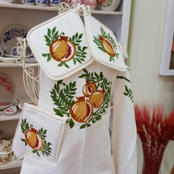 Full kitchen with cotton and linen prints pomegranates