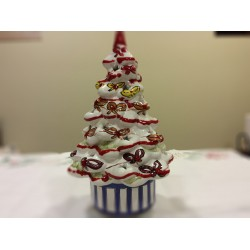 Hand-painted italian christmas pottery tree