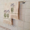 Couple bath towels hand-printed lavender decoration