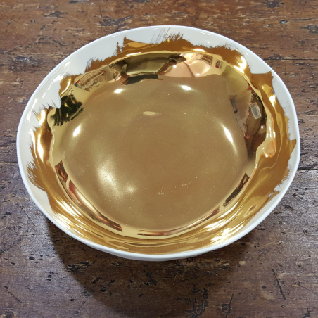 Bowl in porcellana spennellata oro